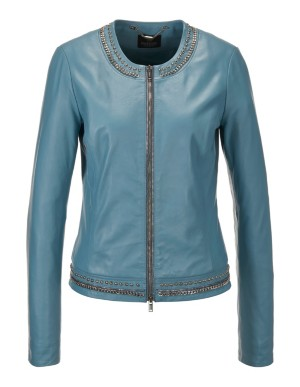 Collarless nappa leather jacket