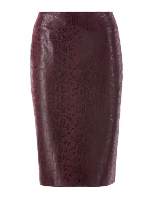 Snakeskin-embossed suede pencil skirt