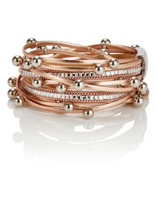 Multi-strand leather bracelet