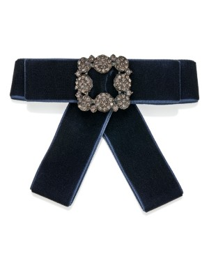 Delicately shimmering velvet bow brooch