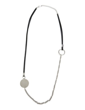Leather strap and metal necklace