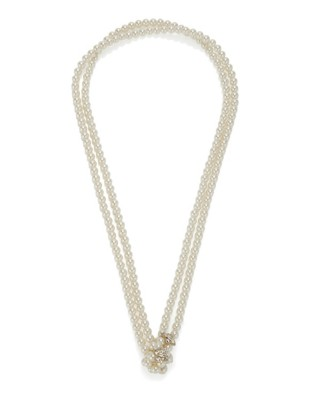Double-stranded faux pearl necklace