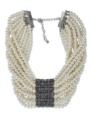 Multi-strand faux pearl necklace