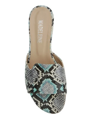 Leather mules in snakeskin look