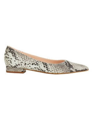 Snakeskin pattern leather ballet flats