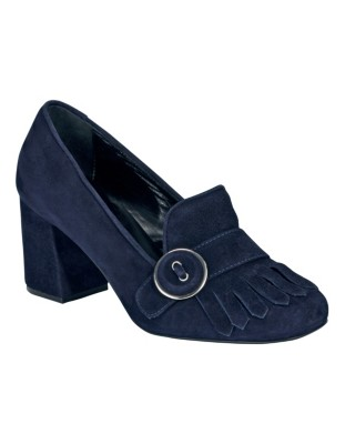 Suede block heels with fringed flap
