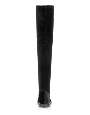 Velvet boots with stud embellishment