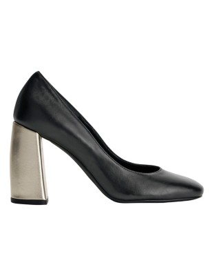 Metallic block heel court shoes