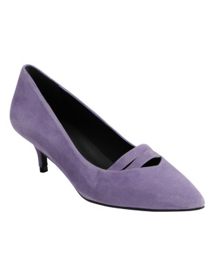Pointed suede court shoes