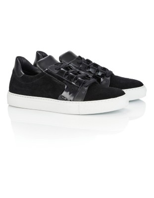 Super soft suede trainers with patent leather inserts