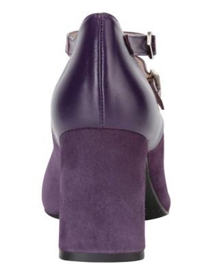 Leather blend ankle strap heels