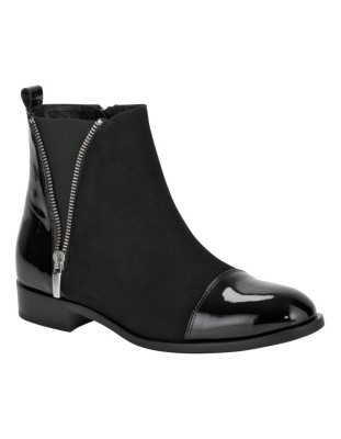 Suede and patent leather boots