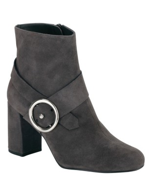 Suede ankle boots with decorative buckle