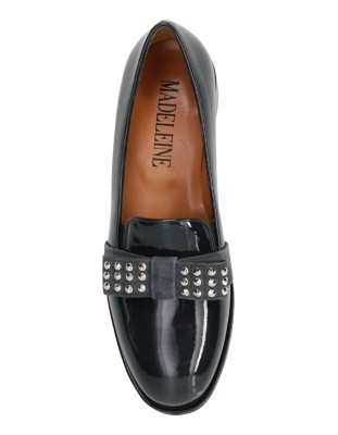 Loafers with stud adorned suede strap