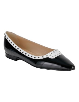 Patent and smooth leather stud-adorned ballet flats