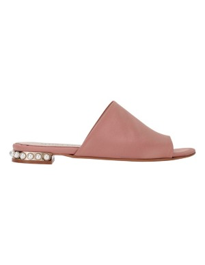 Satin mules with faux pearls