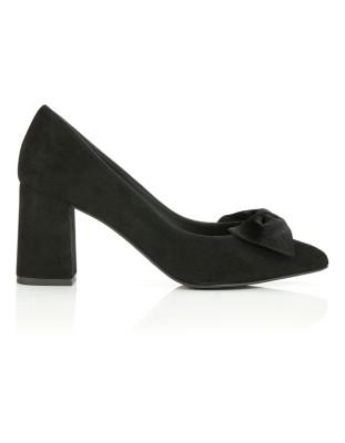 Suede heels with velvet bow