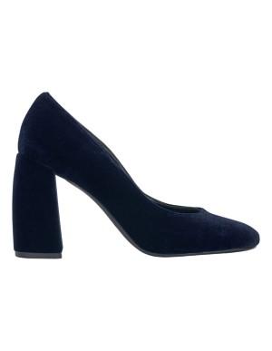Block velvet heels