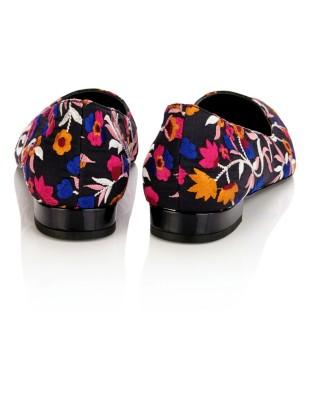Floral embroidered lightweight textile ballet flats