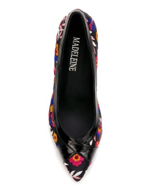 Floral embroidered lightweight textile court shoes