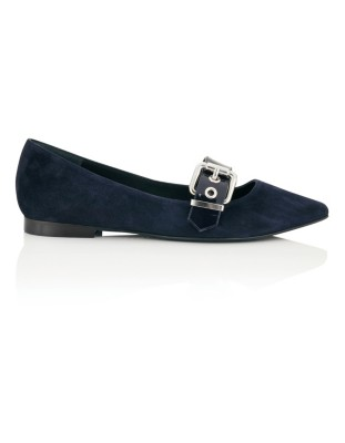 Soft suede ballet flats with patent leather strap
