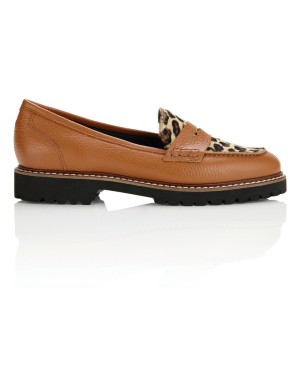 Track sole loafers with hide vamp