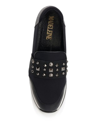 Stud-adorned wedge sole loafers