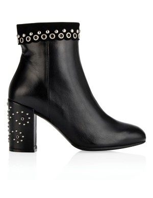 Stud-adorned, suede-trim ankle boots
