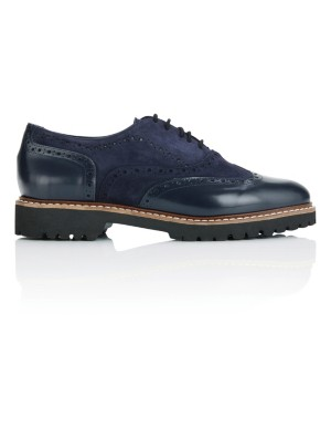 Shiny leather and suede brogues