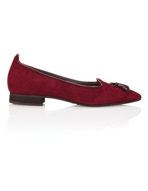 Soft suede ballet flats with tassel detail