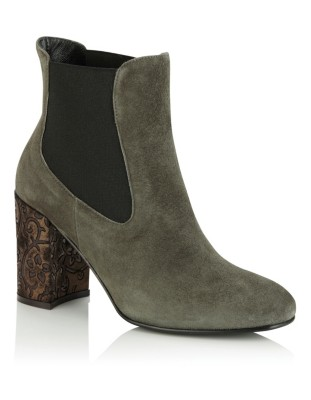 Ankle boots with floral-patterned heel