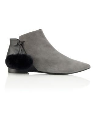 Pompom adorned ankle boots