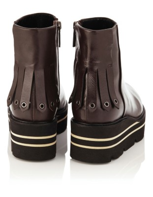 Ankle boots with heel fringe detail