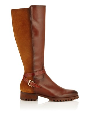 Leather boots with decorative strap and buckle