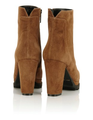 Suede platform sole ankle boots