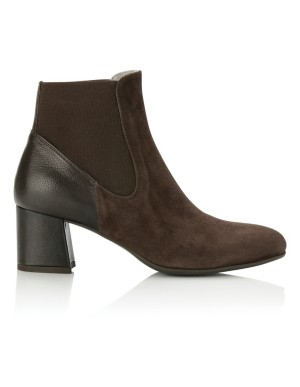 Suede and smooth leather ankle boots