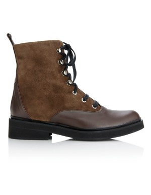 Suede and leather lace-up boots
