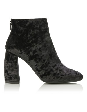 Velvet ankle boots with block heel