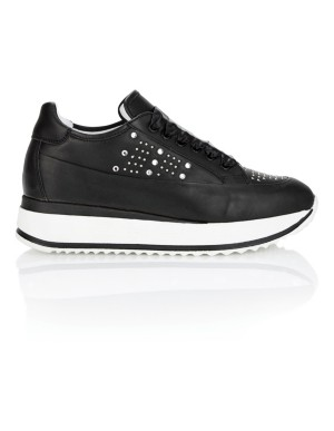 Stud adorned, satin lace trainers