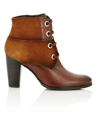 Mixed leather lace-up ankle boots