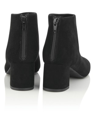 Soft suede block heel ankle boots