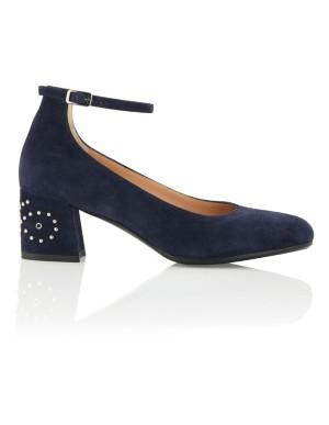 Stud adorned ankle strap heels