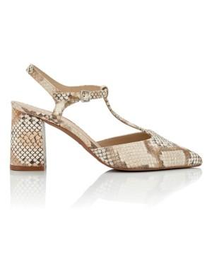 Snakeskin print T-bar heels
