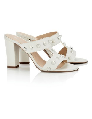 Strap mules adorned with faux pearls