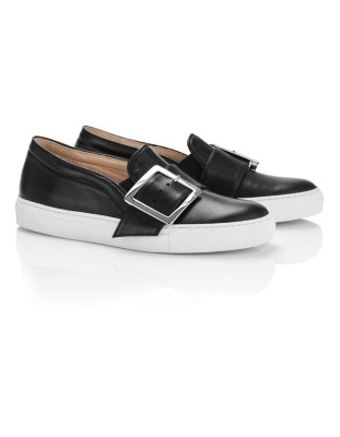 Leather loafers with decorative buckle