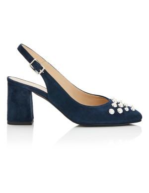 Faux pearl adorned suede slingback heels