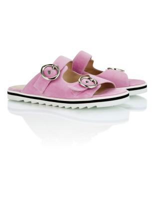 Suede slider sandals