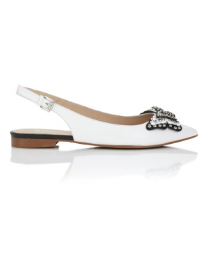Pointed ballet flats with butterfly adornment