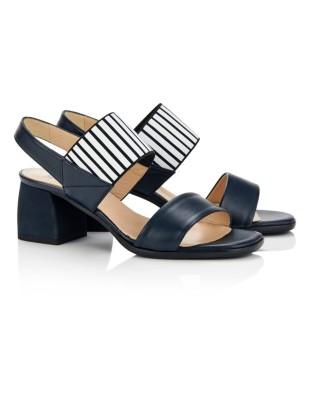 Contrast cross-strap heels