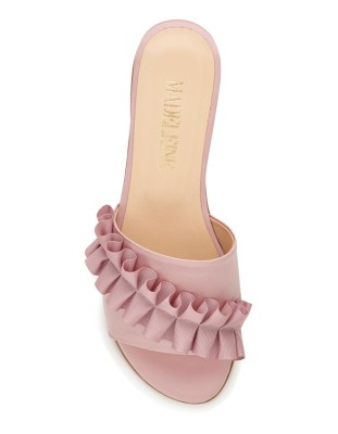 Mules with ruffle appliqué